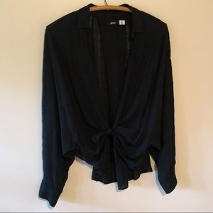 Urban Outfitters black tie front button down